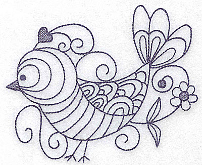 Embroidery Design: Bird with flower 4.98w X 4.07h