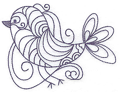 Embroidery Design: Bird with swirls 4.97w X 3.73h