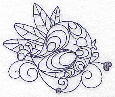 Embroidery Design: Bird among the leaves 4.96w X 4.15h