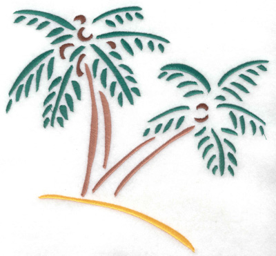 Embroidery Design: Palm trees large 7.37w X 6.93h