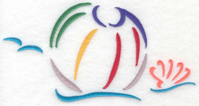 Embroidery Design: Beach ball and waves small 6.96w X 3.58h