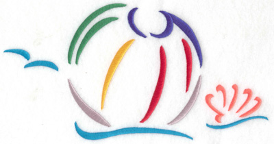 Embroidery Design: Beach ball and waves large 9.74w X 5.01h