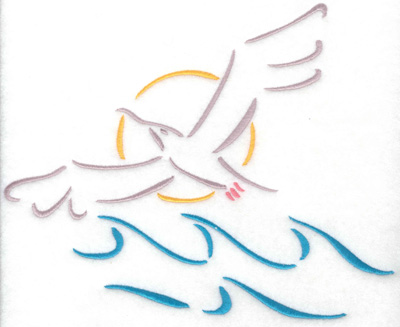 Embroidery Design: Seagull with waves 8.32w X 6.74h