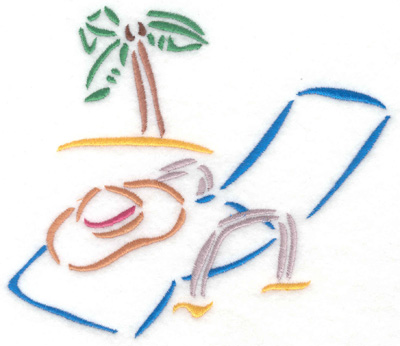 Embroidery Design: Lounge chair with palm tree small 5.78w X 4.96h