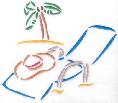 Embroidery Design: Lounge chair with palm tree large 8.08w X 6.94h