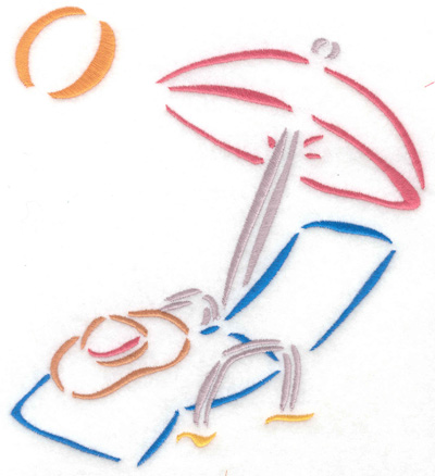 Embroidery Design: Lounge chair with sun umbrella 6.20w X 6.90h