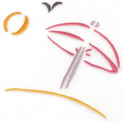 Embroidery Design: Sun Umbrella on beach small 5.04w X 4.98h