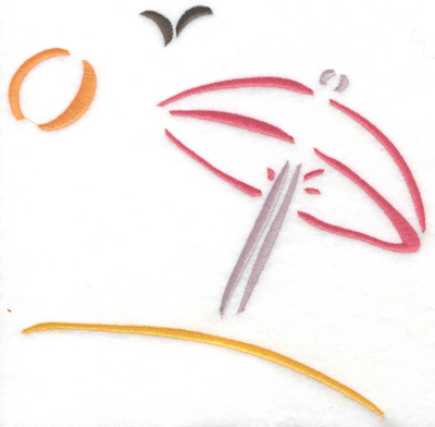 Embroidery Design: Sun Umbrella on beach large 7.05w X 6.97h