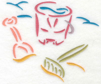 Embroidery Design: Pail and shovel on beach small 5.88w X 4.97h