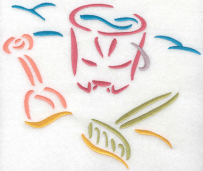 Embroidery Design: Pail and shovel on beach small 8.23w X 6.96h