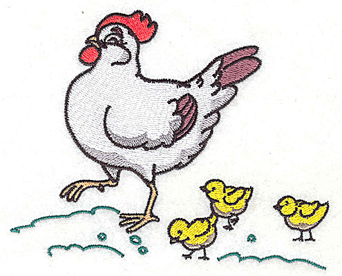 Embroidery Design: Hen with chicks large 4.97w X 4.08h
