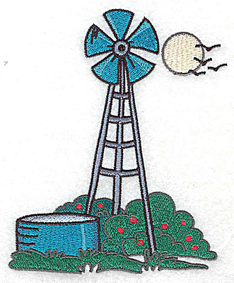 Embroidery Design: Windmill and water reservoir large 4.10w X 4.97h