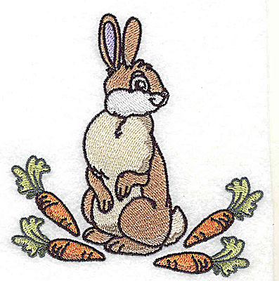 Embroidery Design: Rabbit with carrots 3.72w X 3.70h