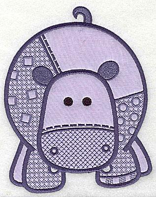 Embroidery Design: Hippopotamus applique large 9.31w X 7.38h