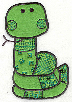 Embroidery Design: Snake applique small 4.81w X 6.88h