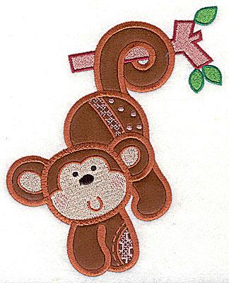 Embroidery Design: Monkey applique small 4.88w X 6.06h