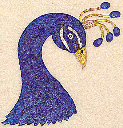 Embroidery Design: Peacock head large 7.28w X 7.47h