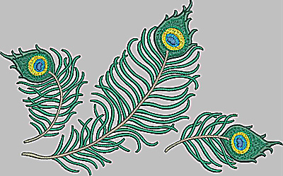 Embroidery Design: Feather trio large 9.92w X 6.18h