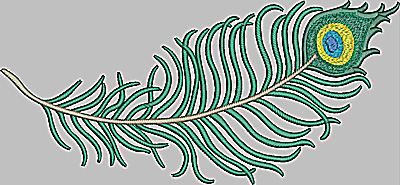 Embroidery Design: Feather horizontal large 11.71w X 5.42h