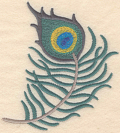Embroidery Design: Feather vertical large 4.66w X 5.25h