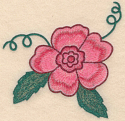 Embroidery Design: Flower with leaves and swirls large  5.18w X 5.14h