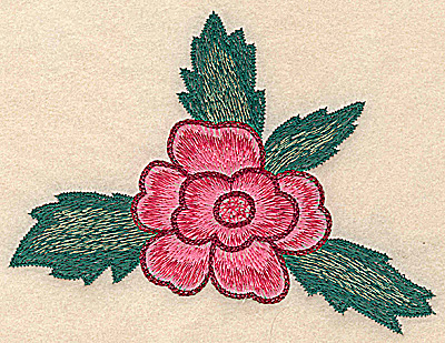 Embroidery Design: Flower with leaves large 5.82w X 4.46h