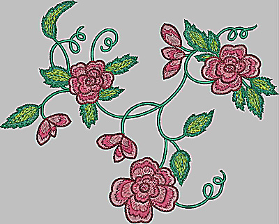 Embroidery Design: Floral cluster large 9.31w X 7.50h