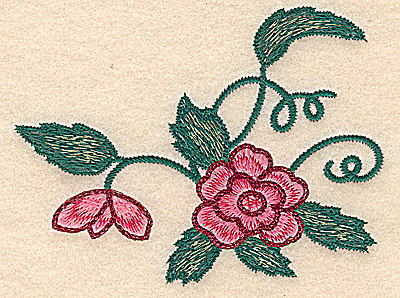 Embroidery Design: Flower large Floral design small 5.03w X 3.89h