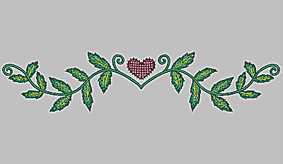 Embroidery Design: Heart and vines large 11.59w X 2.50h
