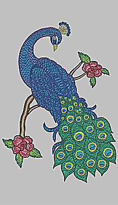 Embroidery Design: Peacock and floral branch 10.70w X 7.62h