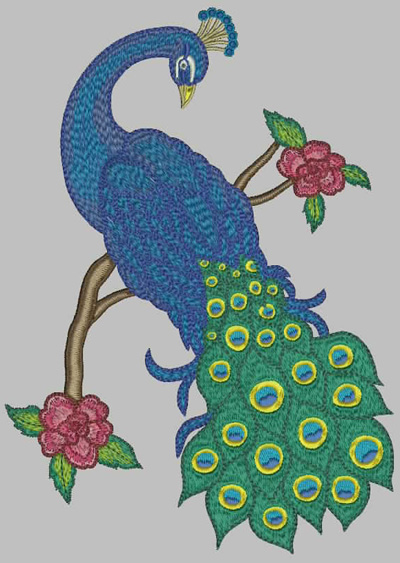 Embroidery Design: Peacock 9.73w X 7.27h