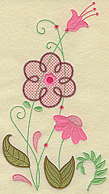 Embroidery Design: Floral variation large 10.39w X 5.80h