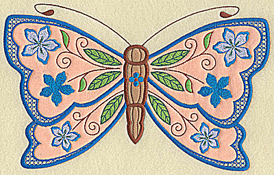Embroidery Design: Butterfly double applique large 10.10w X 6.32h