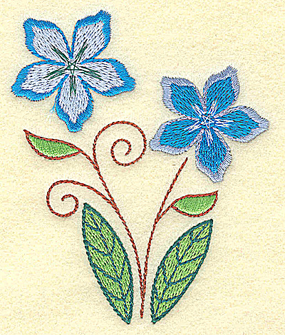 Embroidery Design: Double Blooms 3.14w X 3.84h