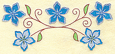 Embroidery Design: Floral row 6.96w X 3.18h