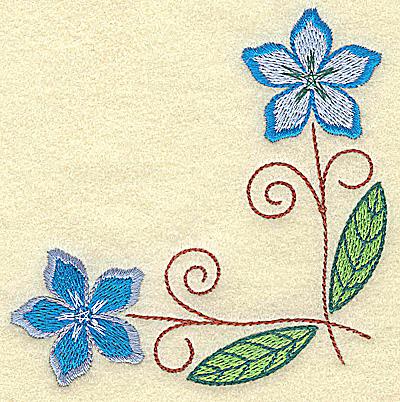Embroidery Design: Floral corner 3.84w X 3.84h