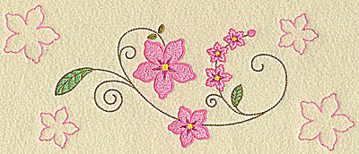 Embroidery Design: Floral blossoms large 10.46w X 4.57h