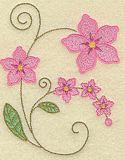Embroidery Design: Blossoms large 3.75w X 4.81h