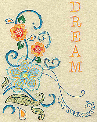 Embroidery Design: Dream florals large 9.40w X 7.45h
