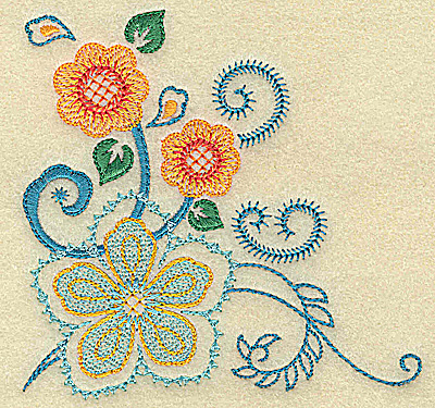 Embroidery Design: Swirls and flowers 3.88w X 3.77h