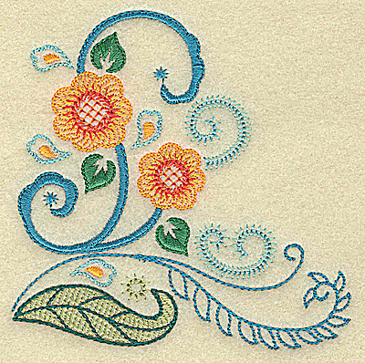 Embroidery Design: Flowers and swirls  3.89w X 3.84h