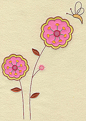 Embroidery Design: Floral applique and butterfly large 10.11w X 7.24h
