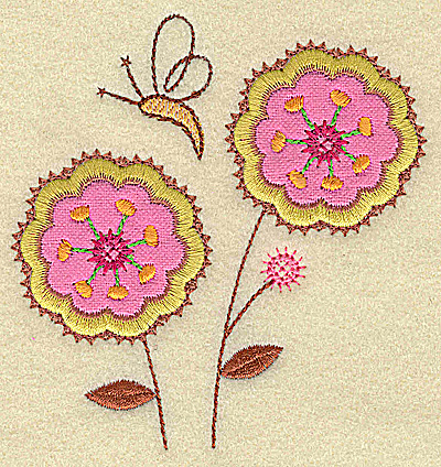Embroidery Design: Floral applqiue and butterfly small 3.74w X 3.87h
