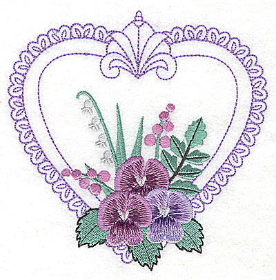 Embroidery Design: Pansies in Heart A large 4.96w X 4.98h