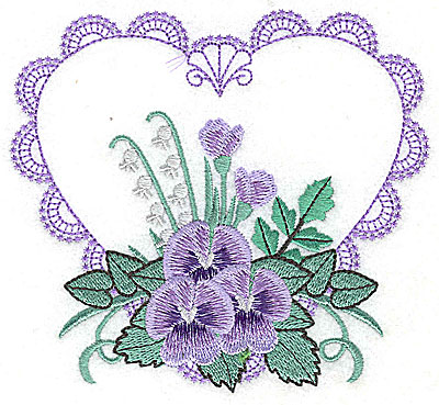 Embroidery Design: Pansies in Heart B large 4.94w X 4.50h