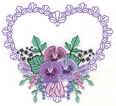 Embroidery Design: Pansies in Heart C large 4.93w X 4.47h