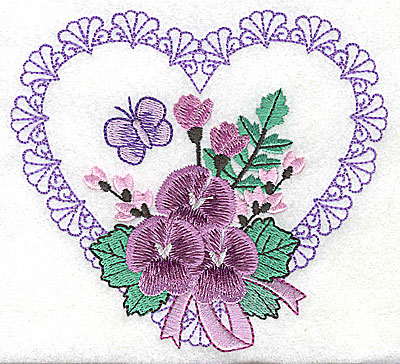 Embroidery Design: Pansies in Heart D large 4.98w X 4.52h