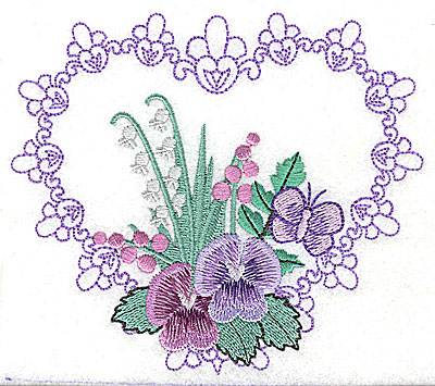 Embroidery Design: Pansies in Heart E large 4.96w X 4.35h