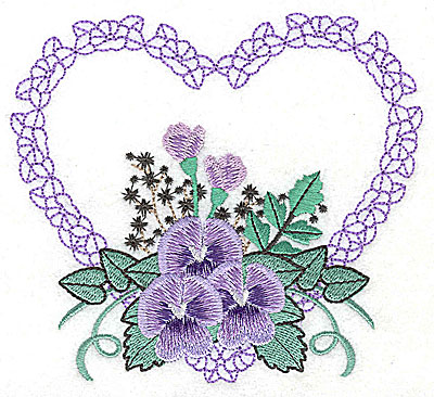Embroidery Design: Pansies in Heart F large 4.97w X 4.47h