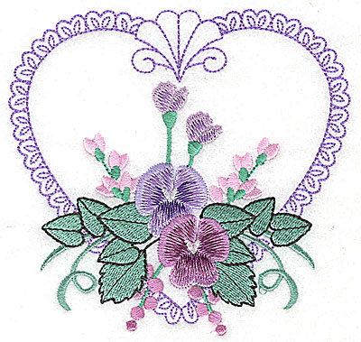 Embroidery Design: Pansies in Heart G large 4.96w X 4.73h